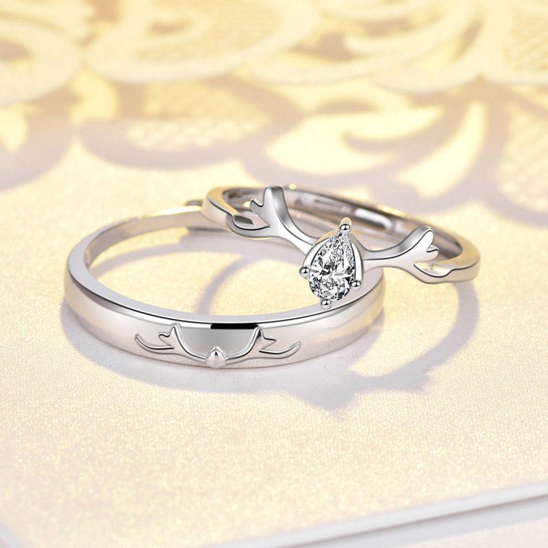Nhẫn đôi bạc mạ bạch kim đính đá Zircon Sừng tuần lộc LILI_548791-02