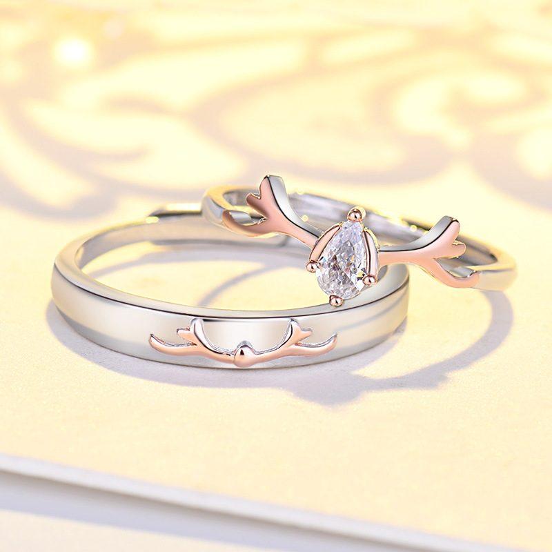 Nhẫn đôi bạc mạ bạch kim đính đá Zircon Sừng tuần lộc LILI_548791-03