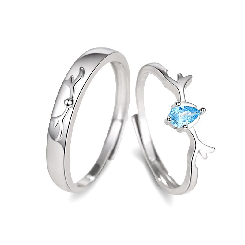 Nhẫn đôi bạc mạ bạch kim đính đá Zircon Sừng tuần lộc LILI_548791-04