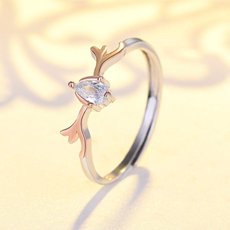 Nhẫn đôi bạc mạ bạch kim đính đá Zircon Sừng tuần lộc LILI_548791-05