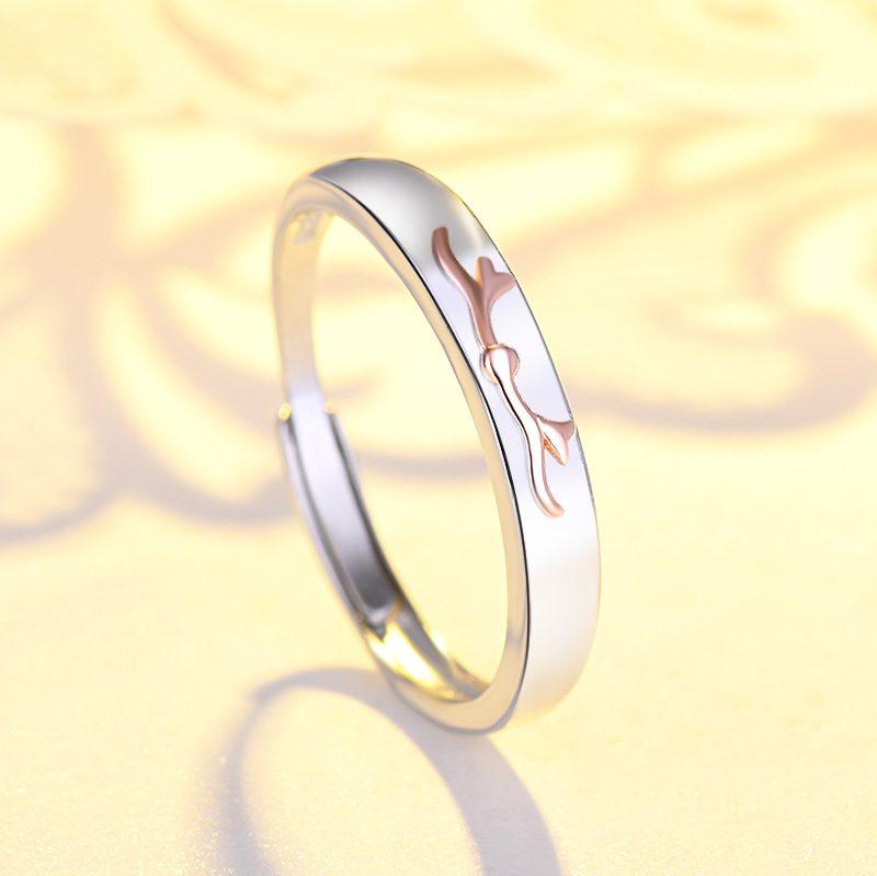 Nhẫn đôi bạc mạ bạch kim đính đá Zircon Sừng tuần lộc LILI_548791-06