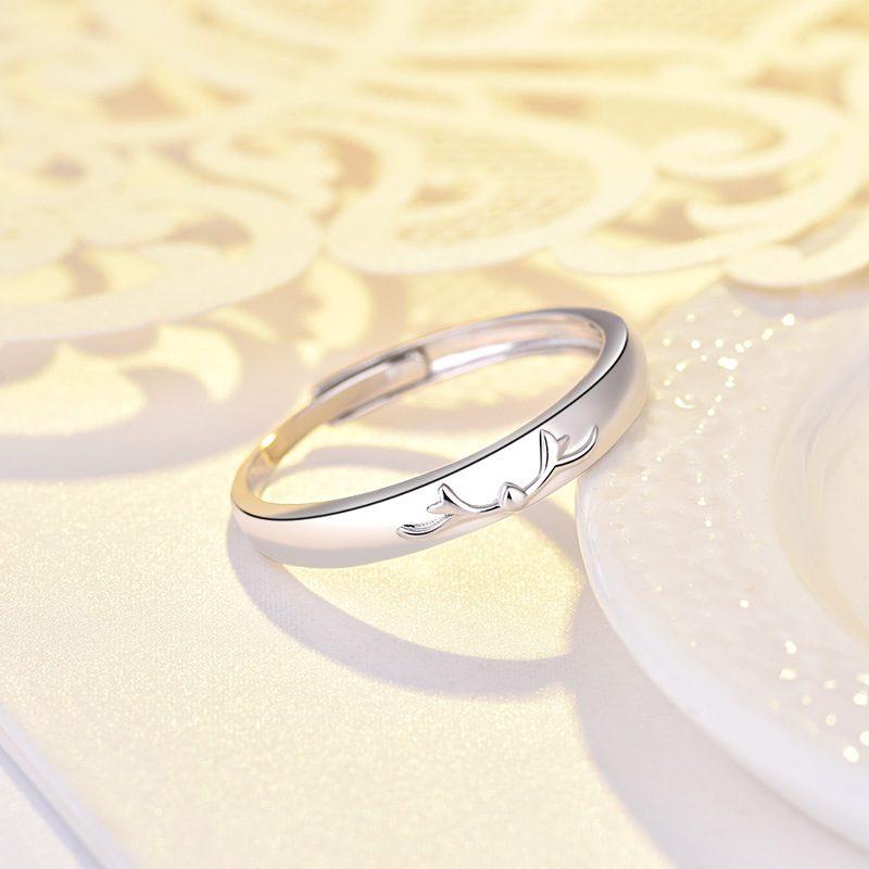 Nhẫn đôi bạc mạ bạch kim đính đá Zircon Sừng tuần lộc LILI_548791-08