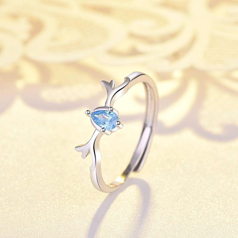 Nhẫn đôi bạc mạ bạch kim đính đá Zircon Sừng tuần lộc LILI_548791-09