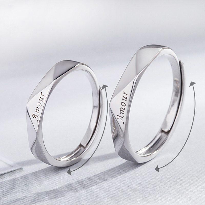 Nhẫn đôi bạc mạ vàng Amour LILI_196429-02