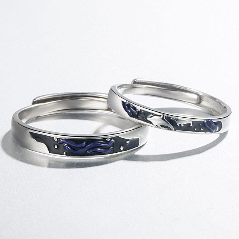Nhẫn đôi bạc mạ vàng Cá Heo Xanh LILI_889448-01
