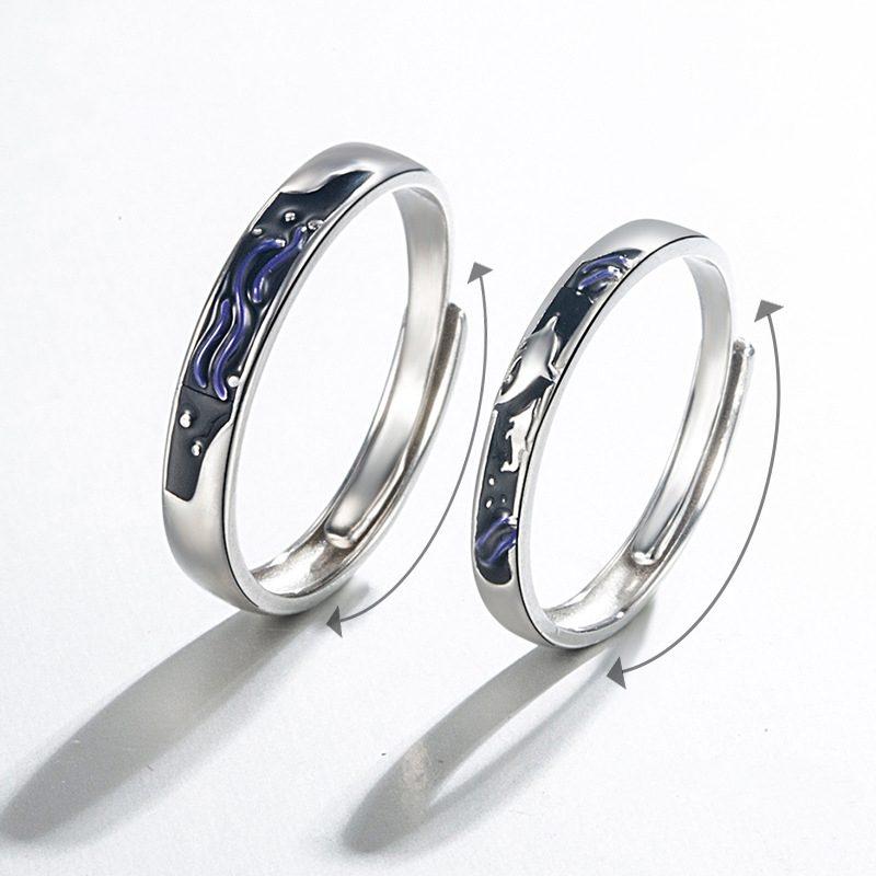 Nhẫn đôi bạc mạ vàng Cá Heo Xanh LILI_889448-02