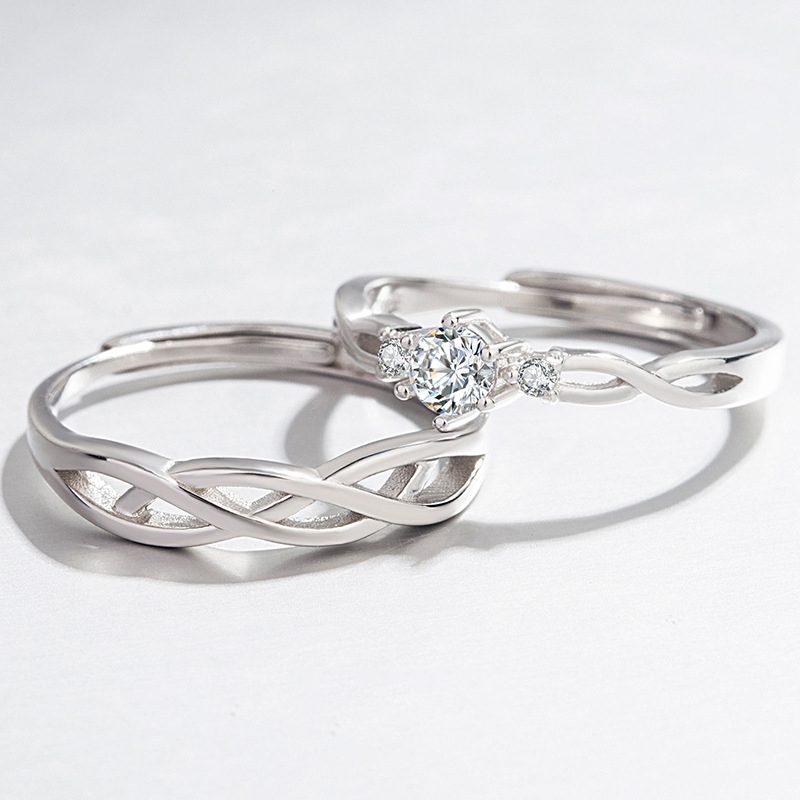 Nhẫn đôi bạc mạ vàng Forever Love LILI_661135-01