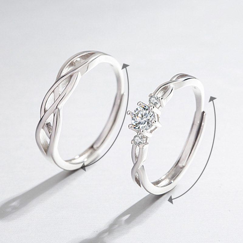 Nhẫn đôi bạc mạ vàng Forever Love LILI_661135-02