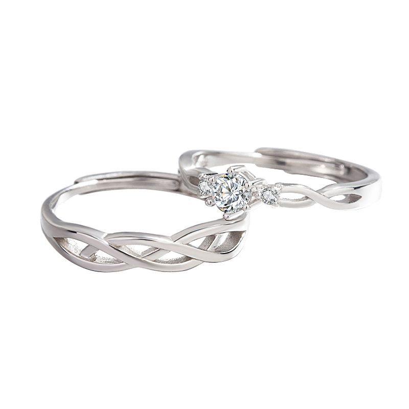 Nhẫn đôi bạc mạ vàng Forever Love LILI_661135-05