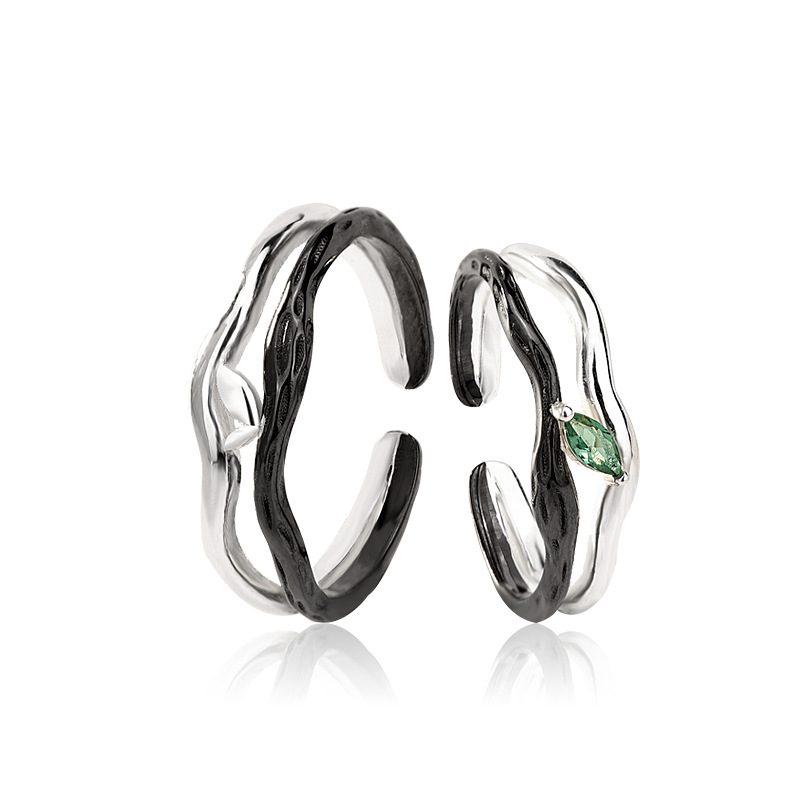 Nhẫn đôi bạc mạ vàng Spring LILI_194646-02