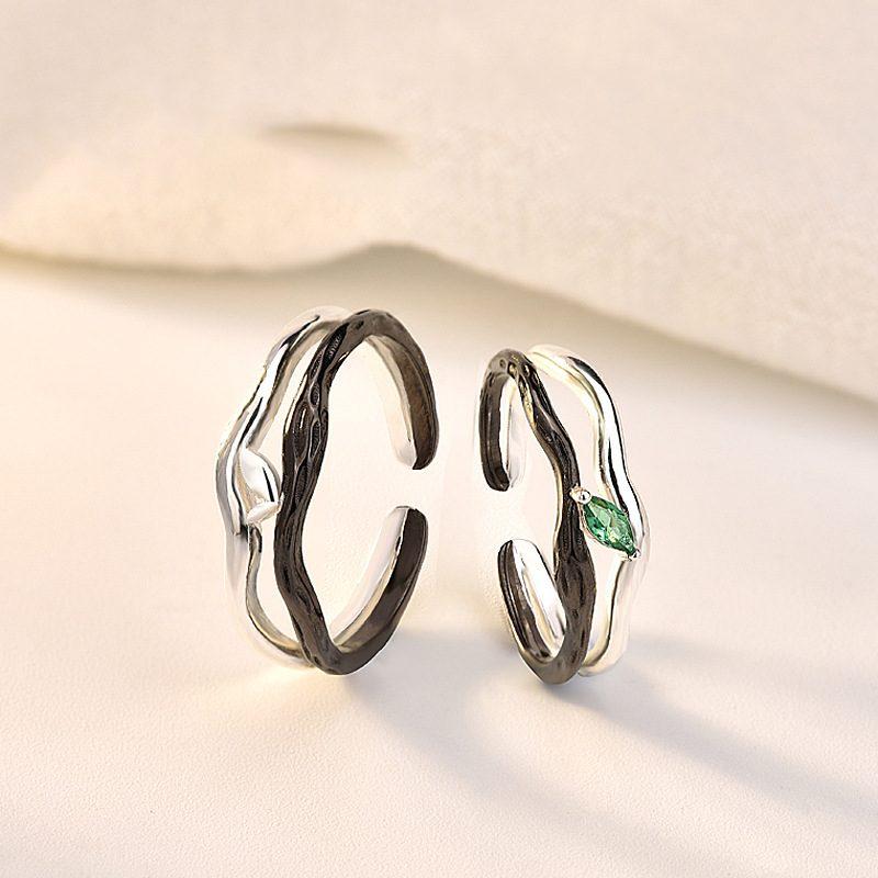 Nhẫn đôi bạc mạ vàng Spring LILI_194646-08