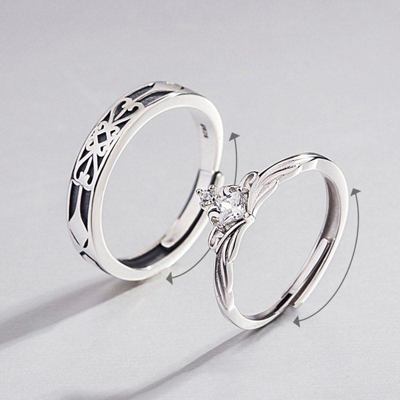 Nhẫn đôi bạc mạ vàng đính đá Zircon A Little Love LILI_291162-01