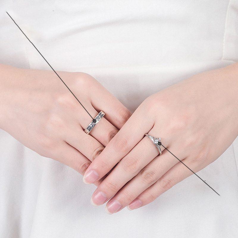 Nhẫn đôi bạc mạ vàng đính đá Zircon A Little Love LILI_291162-02