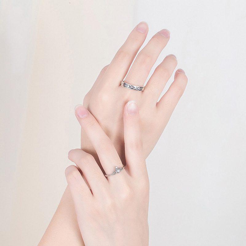 Nhẫn đôi bạc mạ vàng đính đá Zircon A Little Love LILI_291162-03