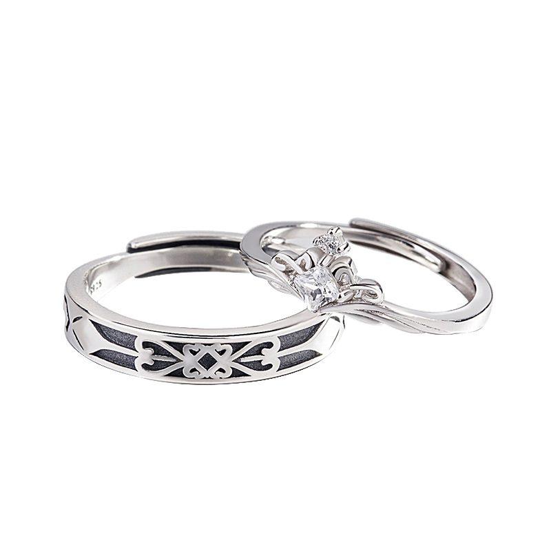 Nhẫn đôi bạc mạ vàng đính đá Zircon A Little Love LILI_291162-04