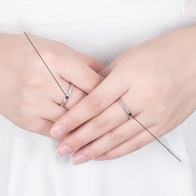 Nhẫn đôi bạc mạ vàng đính đá Zircon I Miss U LILI_777874-03