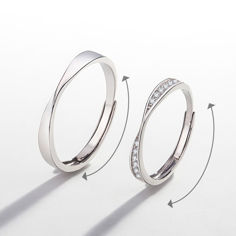 Nhẫn đôi bạc mạ vàng đính đá Zircon LOVE LILI_163118-01