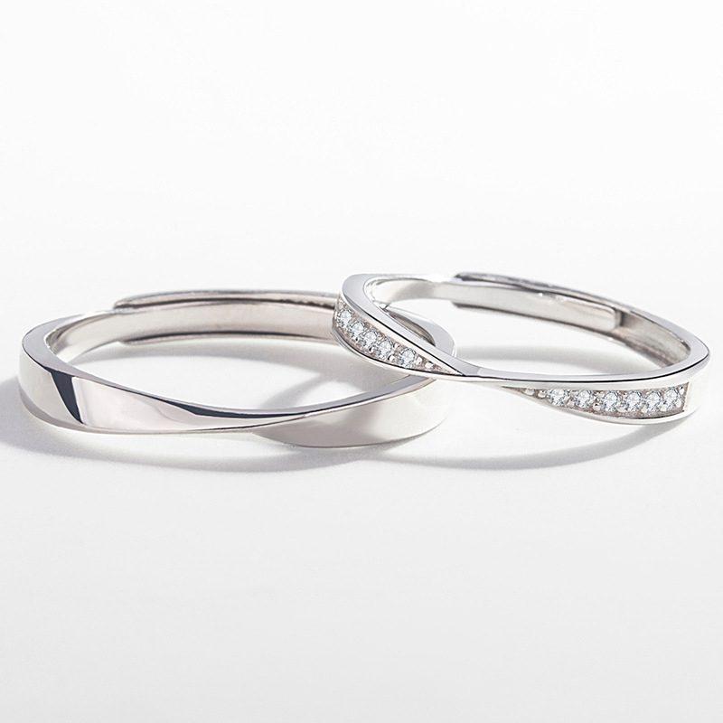 Nhẫn đôi bạc mạ vàng đính đá Zircon LOVE LILI_163118-04