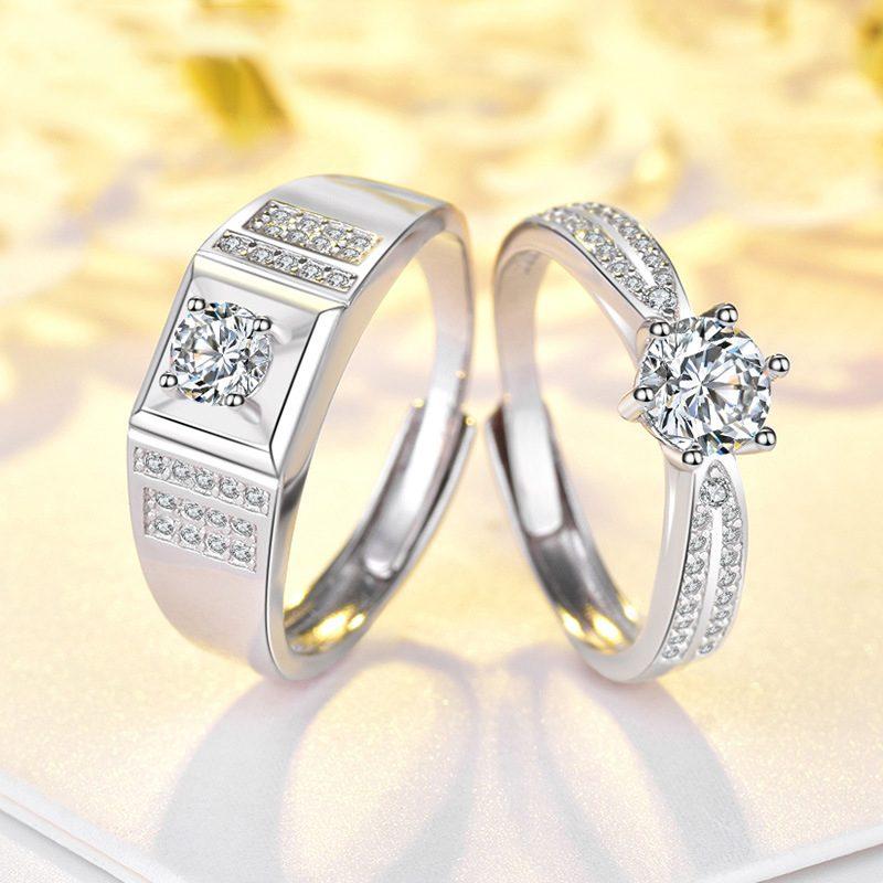 Nhẫn đôi bạc mạ vàng đính đá Zircon Lovely Day LILI_422999-01