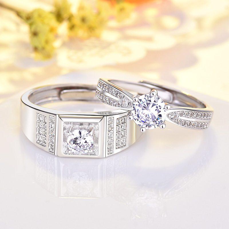 Nhẫn đôi bạc mạ vàng đính đá Zircon Lovely Day LILI_422999-02