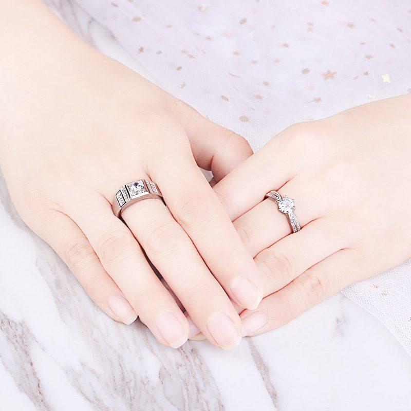 Nhẫn đôi bạc mạ vàng đính đá Zircon Lovely Day LILI_422999-03