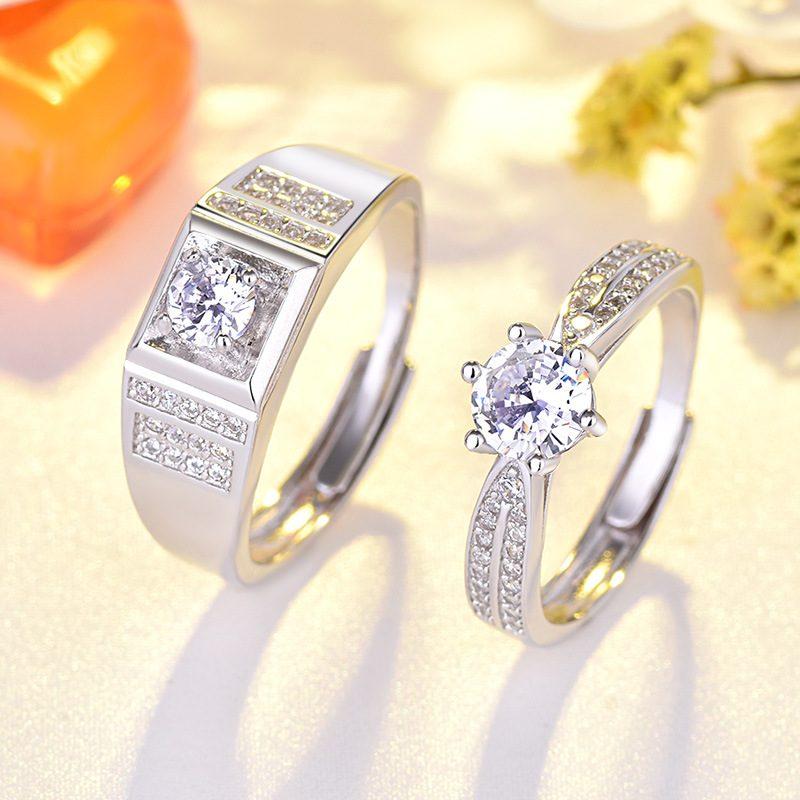 Nhẫn đôi bạc mạ vàng đính đá Zircon Lovely Day LILI_422999-04