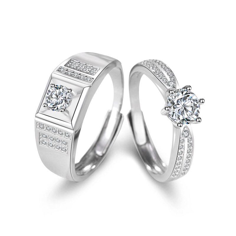 Nhẫn đôi bạc mạ vàng đính đá Zircon Lovely Day LILI_422999-05