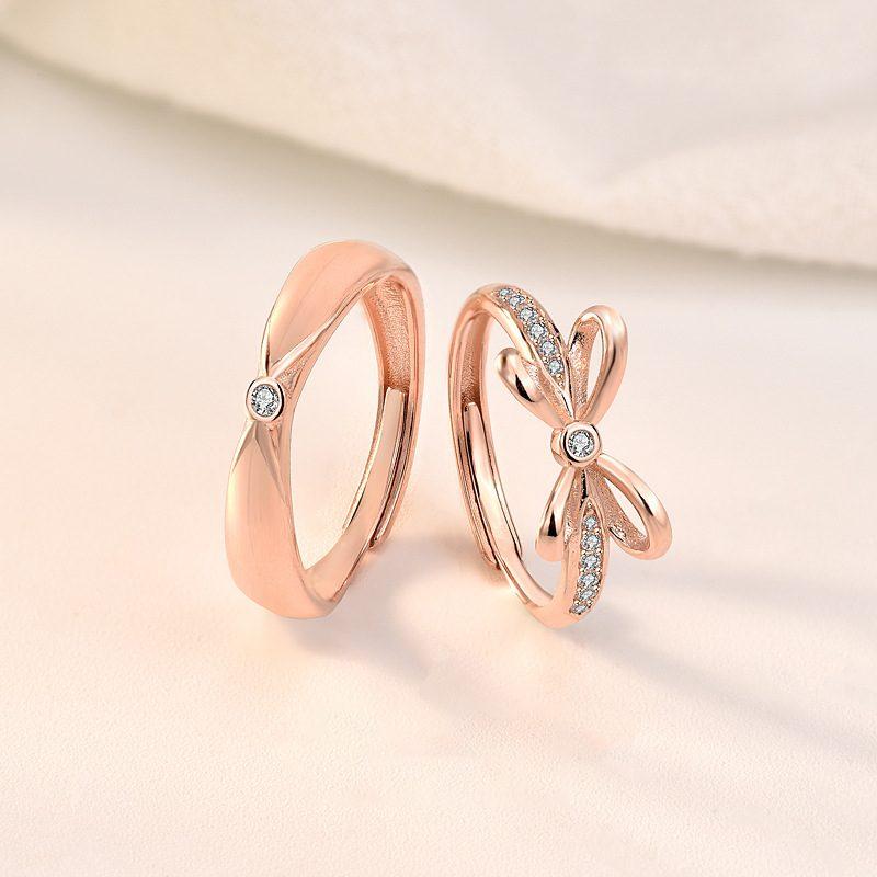 Nhẫn đôi bạc mạ vàng đính đá Zircon The Light LILI_731676-01