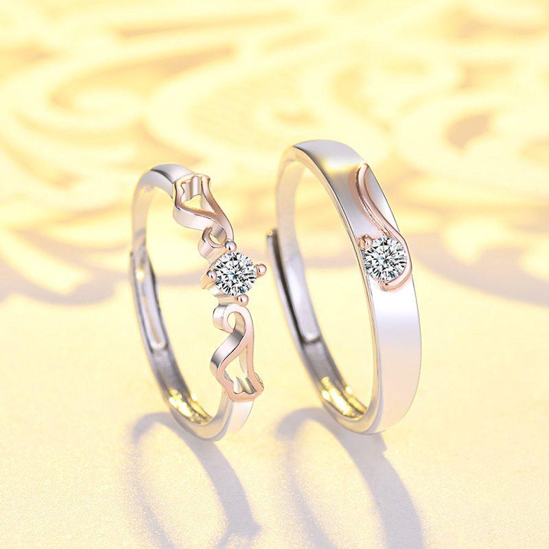 Nhẫn đôi bạc mạ vàng đính đá Zircon đôi cánh thiên thần LILI_163331-01