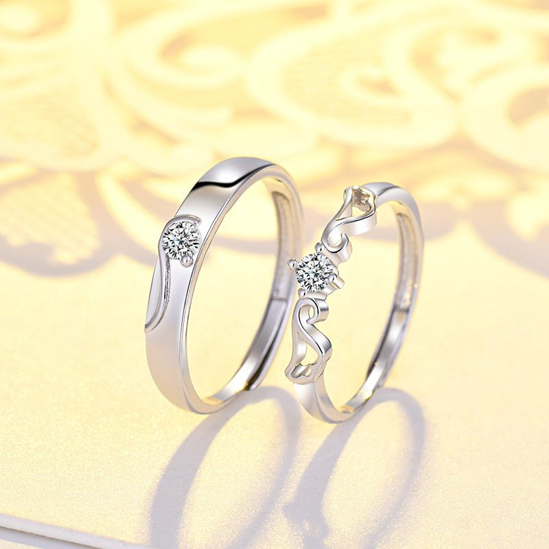 Nhẫn đôi bạc mạ vàng đính đá Zircon đôi cánh thiên thần LILI_163331-02