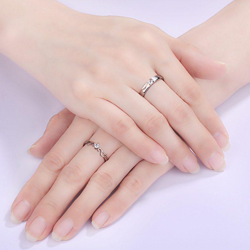 Nhẫn đôi bạc mạ vàng đính đá Zircon đôi cánh thiên thần LILI_163331-03