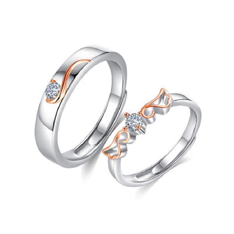 Nhẫn đôi bạc mạ vàng đính đá Zircon đôi cánh thiên thần LILI_163331-04