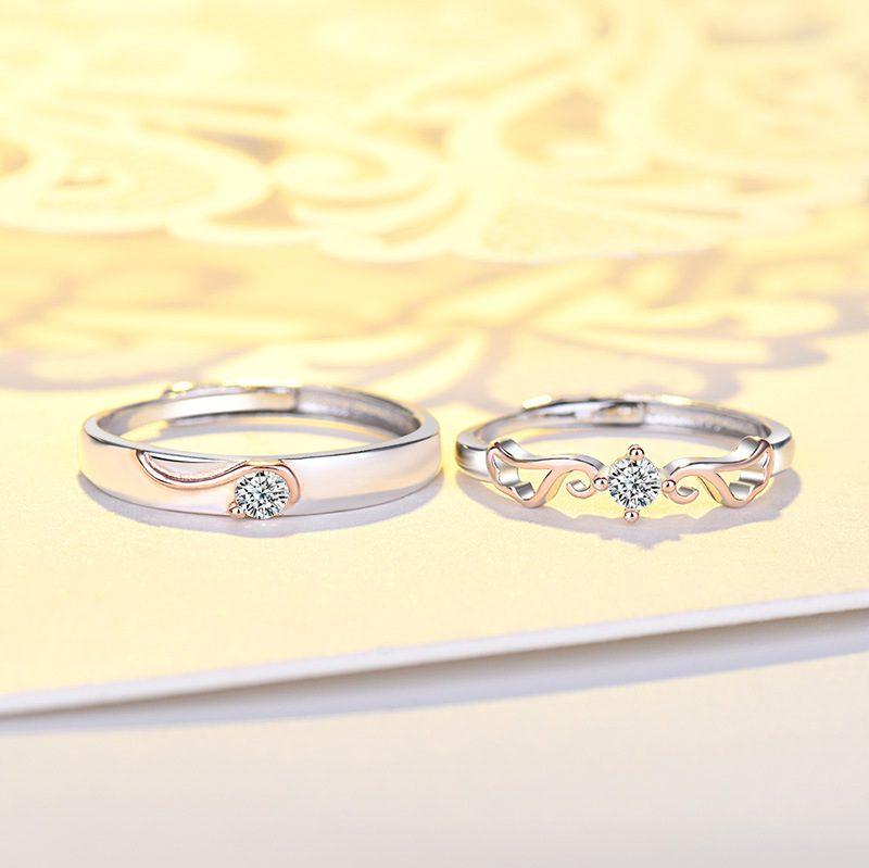 Nhẫn đôi bạc mạ vàng đính đá Zircon đôi cánh thiên thần LILI_163331-05