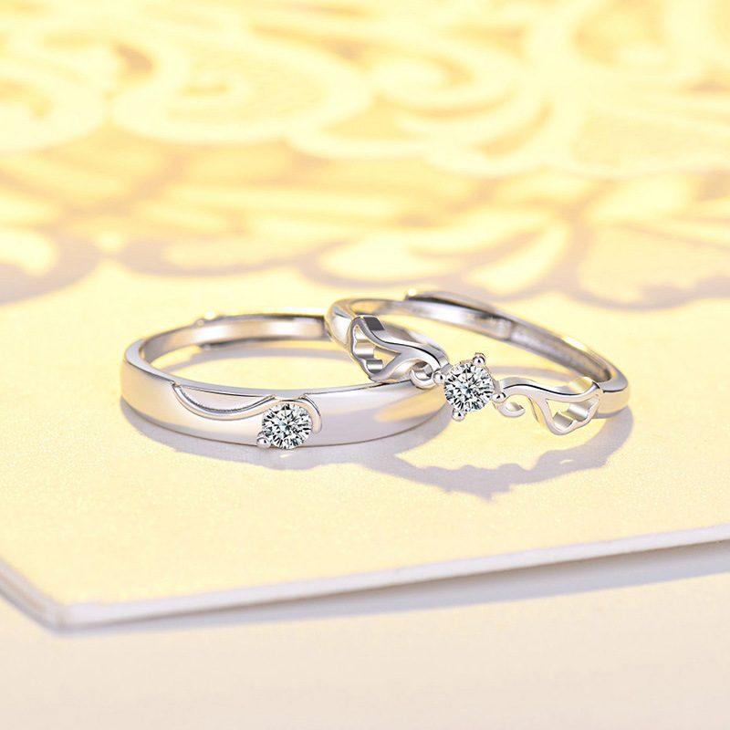 Nhẫn đôi bạc mạ vàng đính đá Zircon đôi cánh thiên thần LILI_163331-07