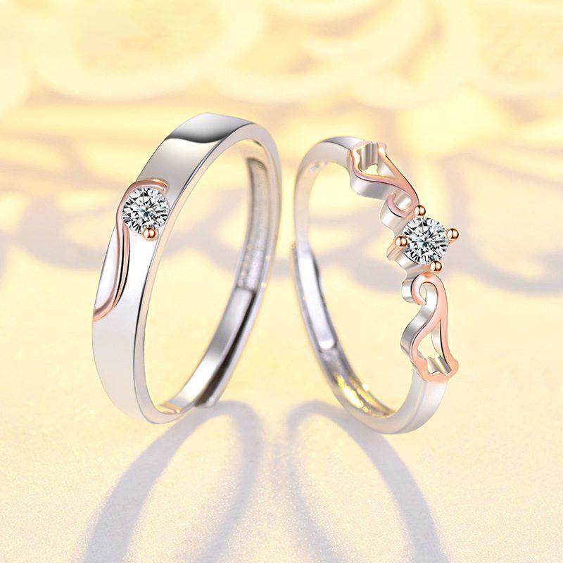 Nhẫn đôi bạc mạ vàng đính đá Zircon đôi cánh thiên thần LILI_163331-09