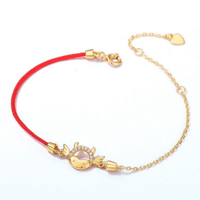 Lắc tay Vòng tay bạc mạ vàng đính đá Zircon Tân Sửu LILI_536666-02