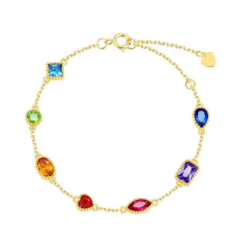 Lắc tay Vòng tay bạc mạ vàng đính đá Zircon đa sắc LILI_634445-01