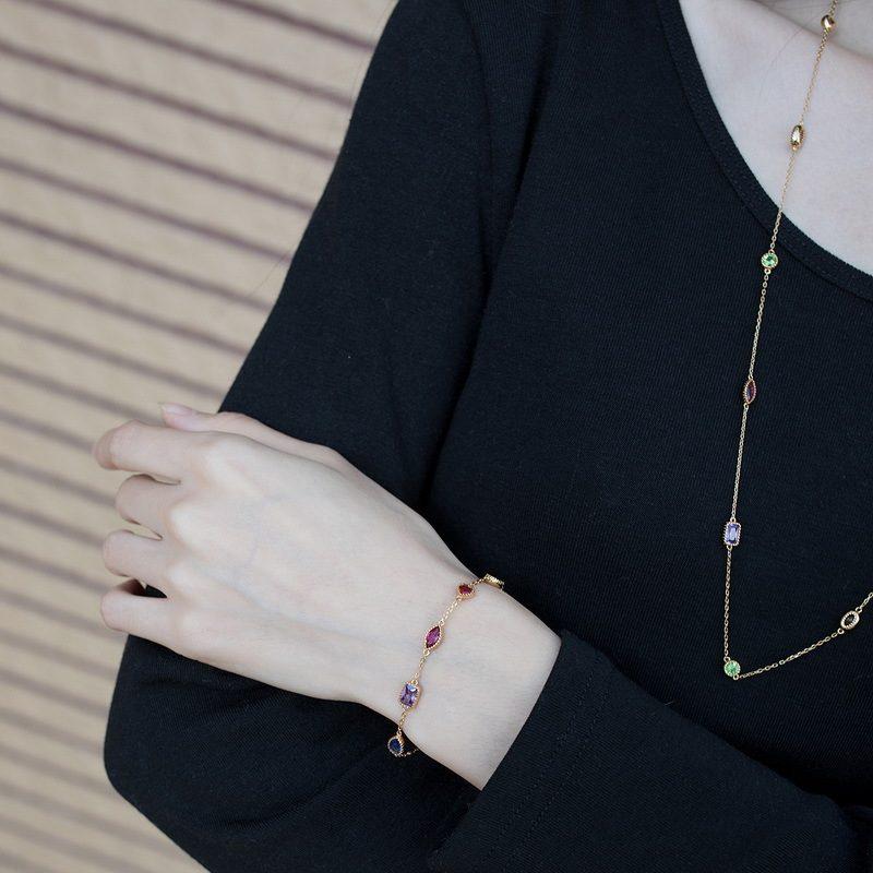 Lắc tay Vòng tay bạc mạ vàng đính đá Zircon đa sắc LILI_634445-04