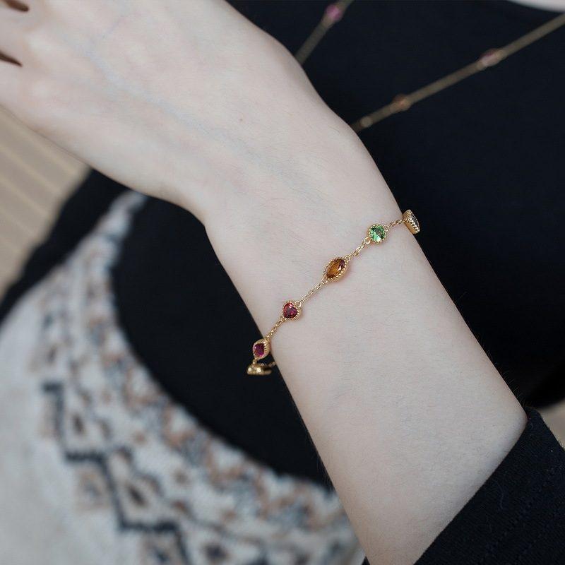 Lắc tay Vòng tay bạc mạ vàng đính đá Zircon đa sắc LILI_634445-06