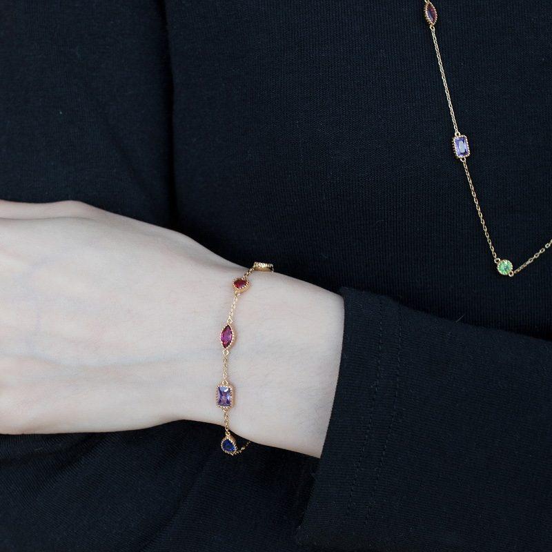 Lắc tay Vòng tay bạc mạ vàng đính đá Zircon đa sắc LILI_634445-07