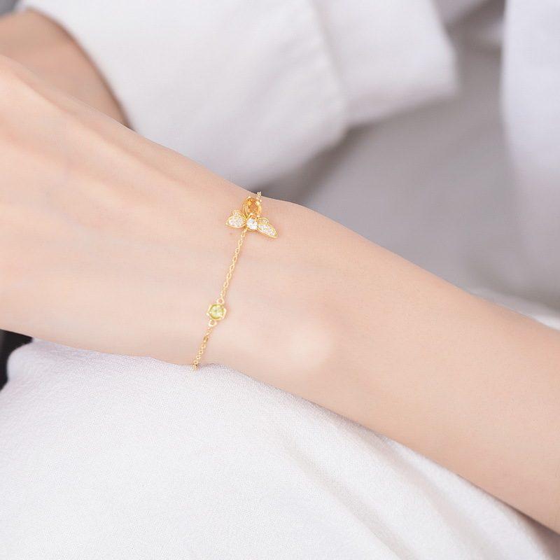 Lắc tay Vòng tay bạc mạ vàng đính đá Zircon hình ong mật LILI_259848-06