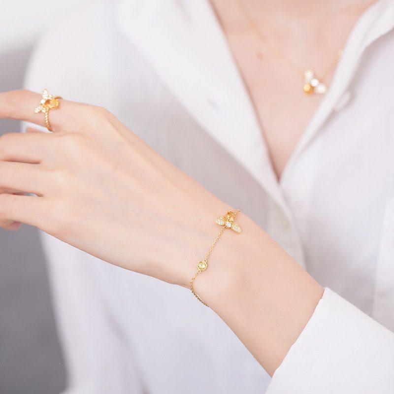 Lắc tay Vòng tay bạc mạ vàng đính đá Zircon hình ong mật LILI_259848-07