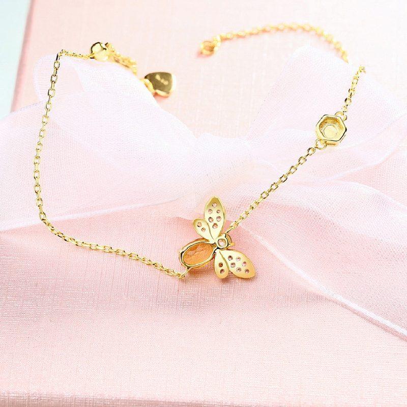 Bộ trang sức bạc mạ vàng đính đá Citrine hình chú ong vàng LILI_379148-01