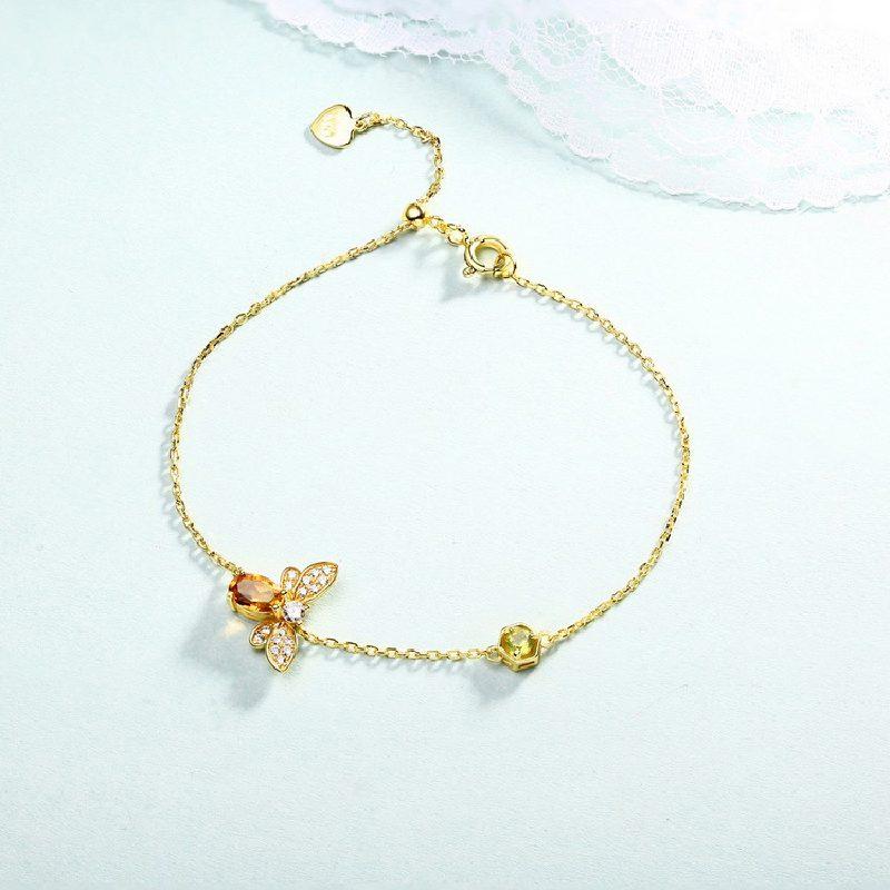 Bộ trang sức bạc mạ vàng đính đá Citrine hình chú ong vàng LILI_379148-02