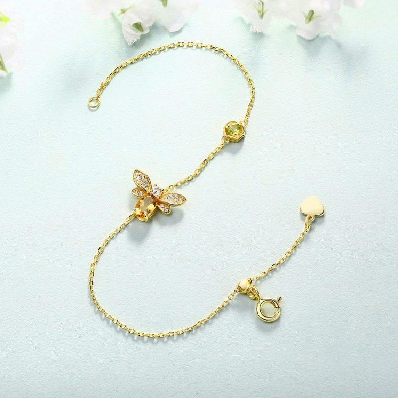 Bộ trang sức bạc mạ vàng đính đá Citrine hình chú ong vàng LILI_379148-03
