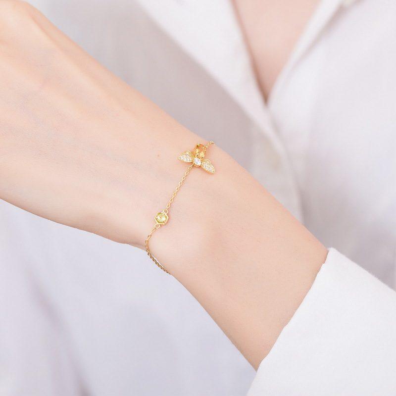 Bộ trang sức bạc mạ vàng đính đá Citrine hình chú ong vàng LILI_379148-04