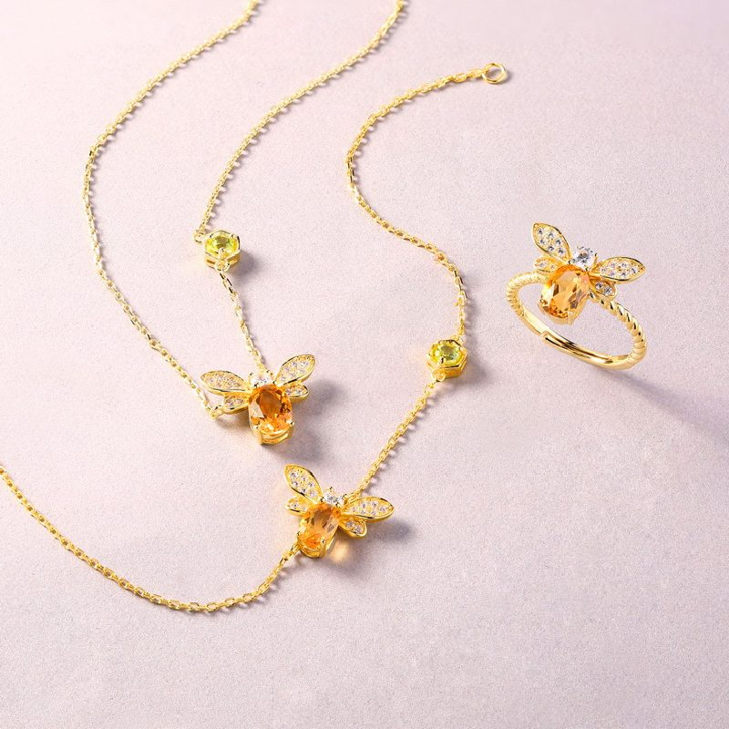 Bộ trang sức bạc mạ vàng đính đá Citrine hình chú ong vàng LILI_379148-05