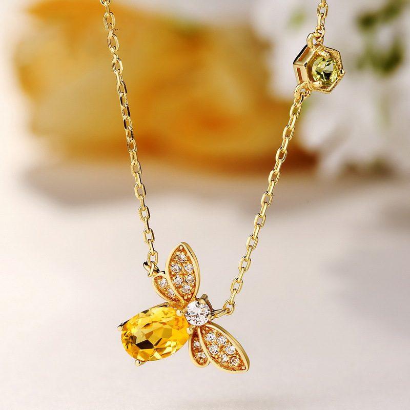 Bộ trang sức bạc mạ vàng đính đá Citrine hình chú ong vàng LILI_379148-06