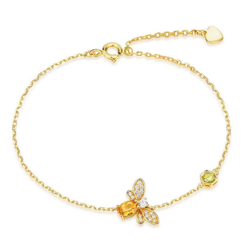 Bộ trang sức bạc mạ vàng đính đá Citrine hình chú ong vàng LILI_379148-09