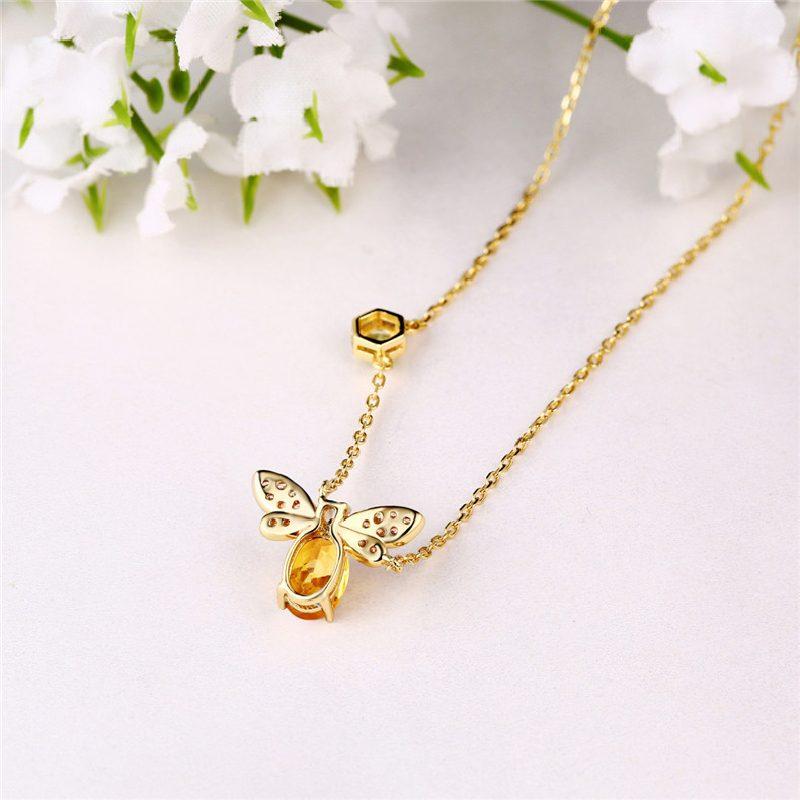 Bộ trang sức bạc mạ vàng đính đá Citrine hình chú ong vàng LILI_379148-11